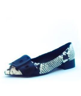 Manoletina Print Animal Blanca Y Negra